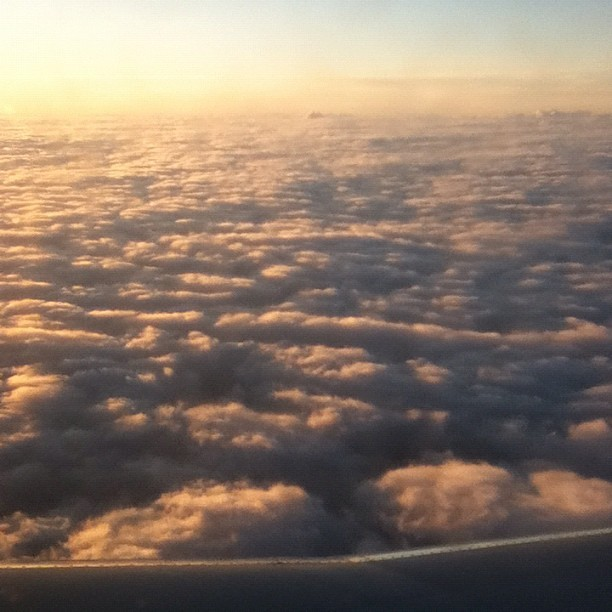 The sunrise I saw flying home yesterday. Really awesome looking. (Taken with instagram)