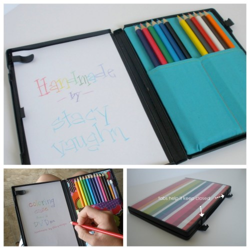 DIY UPDATED DVD Color Pencil and Paper Carrying Case. I originally posted Stacy Vaughn's DVD Coloring Kit here, but she's come up with some updates and tips and tricks for making it even better. Tutorial at Handmade by Stacy Vaughn here.