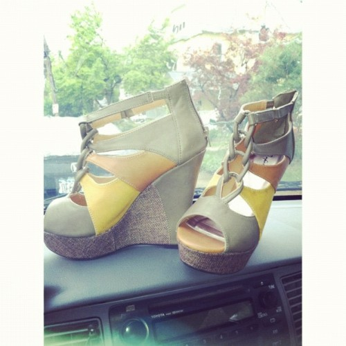 rainy days are for SHOE shopping !!!!  Color Block Wedges. Love the mustard and brown !  (Taken with instagram)