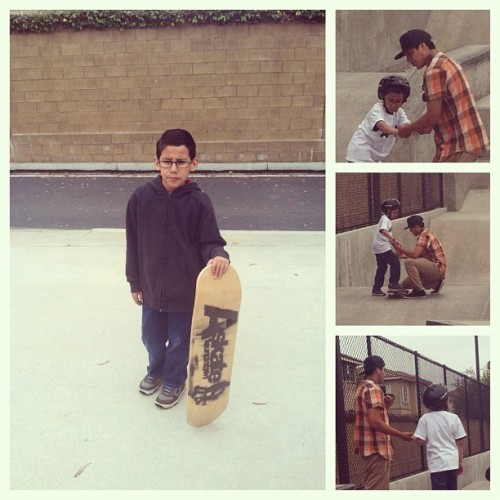 Little brother learning how to skateboard for the first time! #skateboard #autism #Askate #lil brother #harvard park (Taken with instagram)