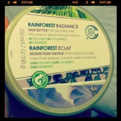Rainforest Radiance Love Reblog searchanddestroyme:  Just put this stuff in my hair. Silky smooth. #thebodyshop (Taken with instagram)