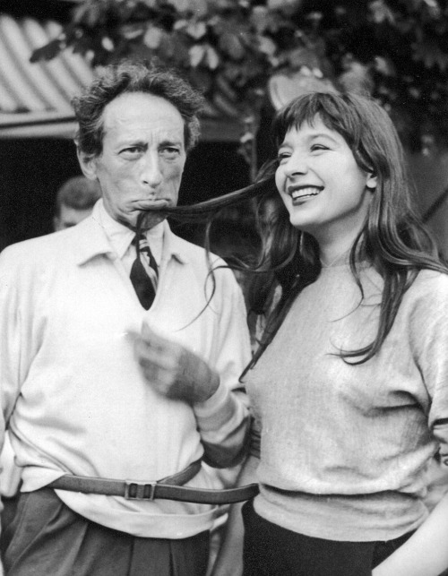 strangewood:  Jean Cocteau and Juliette Gréco on the set of Orpheus.
