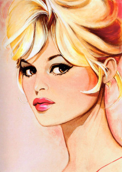 vintagegal:  Brigitte Bardot illustration by Jim Silke