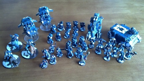 Bad phone pic, but 1250 points of Space Wolves painted in two months.  I'm pretty happy with most of them.  Need to finish up some highlights and do the plasma coils on the Long Fangs.