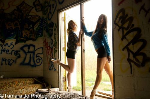 thesewallsarecomingdown:  my best friend and I at a photo shoot. <3