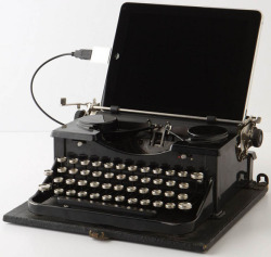 "Sometimes I just type in ""cool things"" on google. Today this typewriter ipad thing showed up. Funny. (via USB Royal Typewriter 