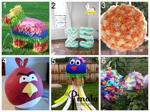 rainbowsandunicornscrafts: Six DIY Pinata Tutorials. I really appreciate these tutorials because when I lived in Germany I made paper mache dinosaur pinatas and it took a lot of work - but the results were definitely worth it. DIY Tissue Paper Cardboard Pinata (Calico Skies) here. DIY Cardboard Number Pinata (Oh Happy Day) here. DIY Paper Mache Rose Pomander Pinata (Kate Landers Events) here. *The tissue paper roses are really easy to make. DIY Paper Mache Angry Bird Pinata (The Copycat Crafter) here. *Easy because it's basically just painted. DIY Paper Mache Octopus (Positively Splendid) here. *Love the addition of the balloons! DIY Paper Mache Mini Pinatas (Milkshakes and Margaritas) here. *This looked like an easy project but then I noticed the URL said mini-pinatas-from-hell. Hmmm…. the project or doing the project with kids?