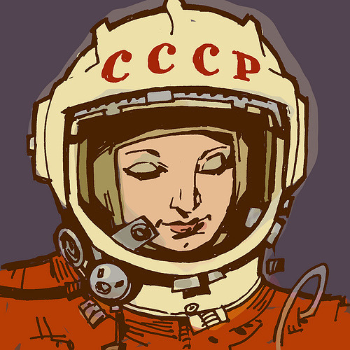 oneyardatatime:  Portrait of Valentina Tereshkova, the first woman in space, by Philip Bond
