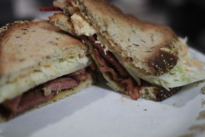 Pastrami on rye with Swiss cheese and Thousand Island dressing