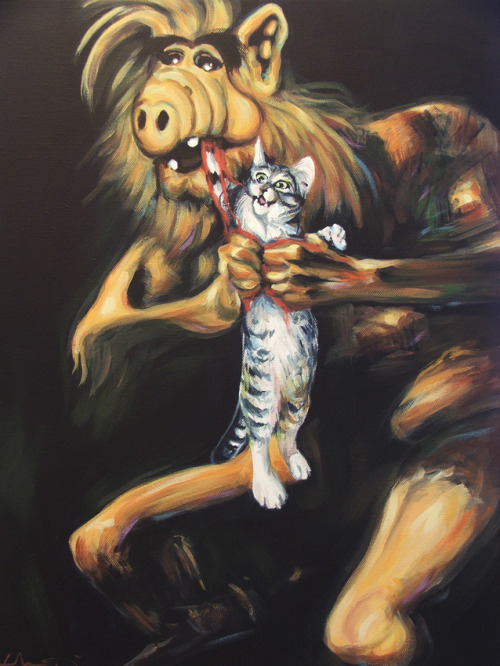 "ianbrooks:  Alf Devouring His Cat by Hillary White/wytrab8 Prints available at Society6. Based on Francisco Goya's ""Saturn Devouring His Son"". Artist: tumblr / deviantart"