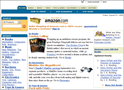 "Amazon.com circa 1999 (via) Highlights: MiniDisc the Magnificent ""We ain't lion: this adorable Goliath Backpack Pal is a grrreat way to scare away those first-day-of-school jitters."" Auctions Harry Potter Free E-Cards More VHS Top Sellers"