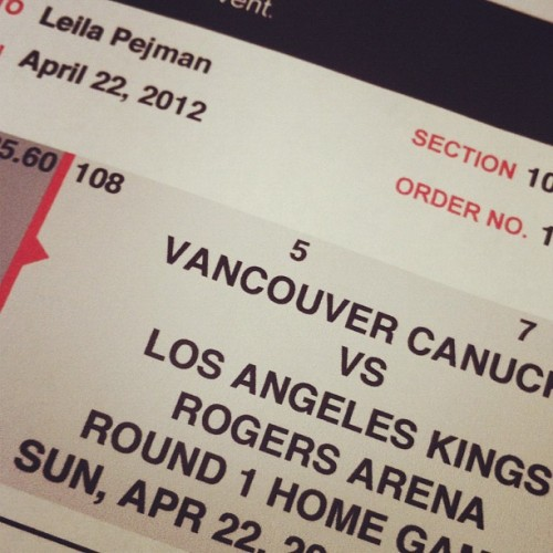 Yes. Got tix to the game today. Go #canucks  (Taken with instagram)