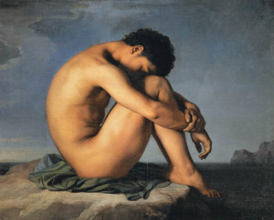 Hippolyte Flandrin, Young man sitting by the sea, 1836 (Paris, France, Louvre Museum)  This refined nude is a perfect example of the neo-classical esthetic practised by Ingres' students. The backdrop of a seascape heightens the rather eerie atmosphere of the scene, showing how this generation of artists undertook to renew the classical esthetic and realign it with contemporary tastes. […] The painting was sent from Rome to Paris in 1836 as an example of the students' work. It was shown at the 1855 Universal Exhibition in Paris and was purchased in 1857 by Napoleon III's civil list. — Louvre Museum