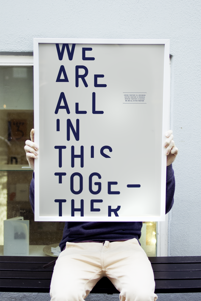 thedsgnblog:  We are all in this together  | http://waaitt.dk WE ARE ALL IN THIS TOGETHER™ is a multidisciplinary design studio located in the city centre of Copenhagen. The studio was established by graphic designers Anders Rimhoff, Jess Jensen & Dennis Müller in the summer of 2011. We work with visual identities, typography, design for print (posters, books, magazines, stationery, brochures etc.), websites, photography, video, art direction and creative consulting. the design blog: facebook | twitter