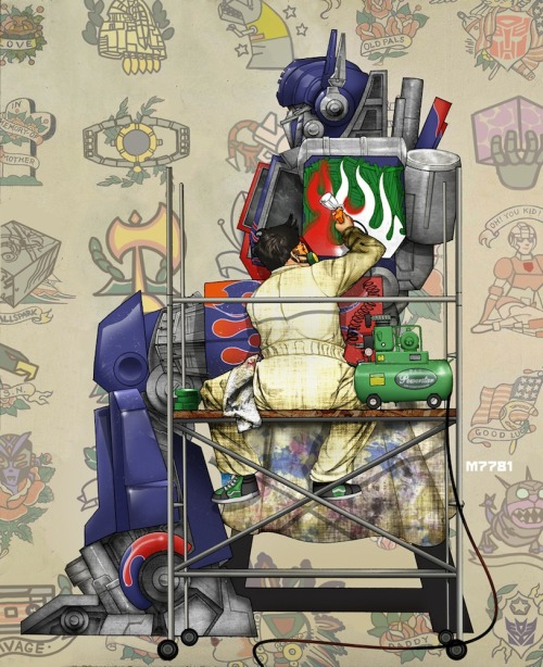 "Fan art of the day: ""The Tattoo Artist"" by Marco D'Alfonso Transformers meets Norman Rockwell"