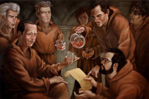 "Casey Weldon""The Reading""acrylic on wood30 x 20 inches(Various Cult Movie Directors, from left to right; Jim Jarmusch, John Waters, David Lynch, Wes Anderson, Quentin Tarantino, Kevin Smith, Tim Burton)"