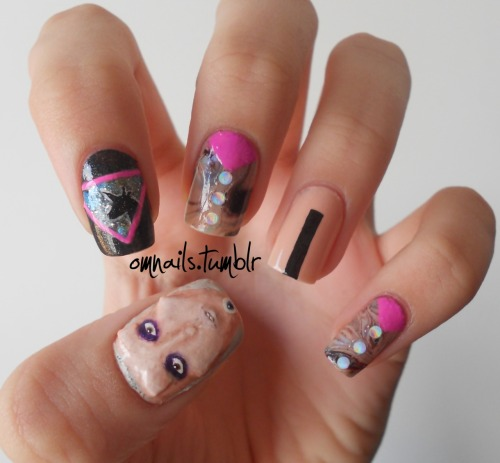 omnails:  Lady Gaga - Born This Way + 3D bones I did this nail art to celebrate that mother monster saw my yüyi nails and that I finally received my invitation to little monsters. (facebook) (more gaga nails) (littlemonsters) (twitter)