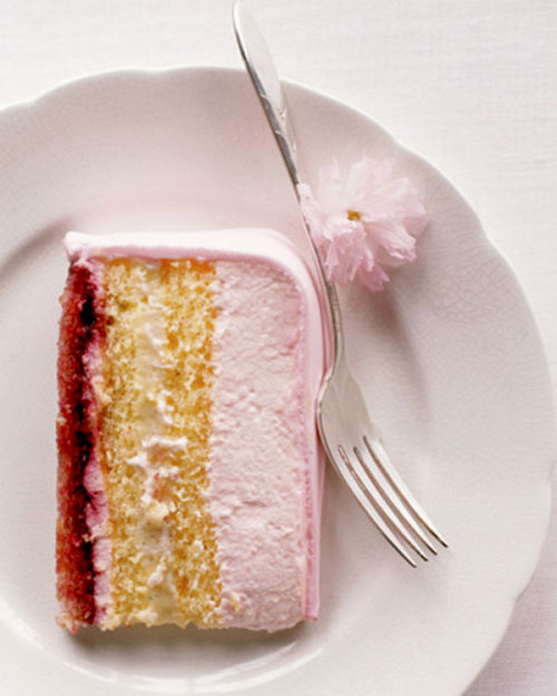 via this is glamorous, source: Martha Stewart ~ mercy ~ layers of almond-flavored genoise, cherry jam, pastry cream, and whipped cream
