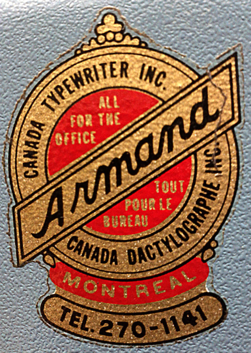 jemayer:  Found this beautiful typewriter repairman's logo decal on a doomed Olivetti today.