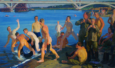 Dmitry Zhilinsky, Bathing soldiers (The builders of a bridge), 1959 (collection unknown)