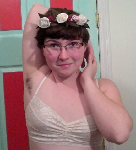 Three things that I love: flowers, lace, and hairy pits!
