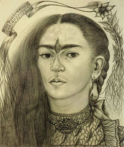 "ohcrackohcrack:   Frida Kahlo, ""Self Portrait dedicated to Marte R. Gomez,"" 1946, pencil on paper.  I remember being so emotional when I came across this drawing for the first time.. so perfect, the bird and the root caught in the hand earring and the tiny tears and just seeing all her marks"