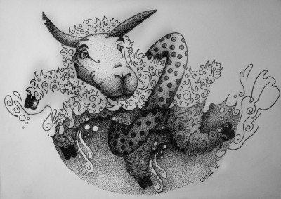 New piece for Duke Riley's Chinese zodiac drawing contest. 1991-Sheep.