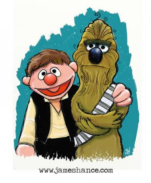 Ernie and Bert/Han and Chewie by James Hance.