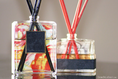 DIY: Oil Reed Diffuser From A Perfume Bottle                Awaken your senses! Give that empty perfume bottle on your dresser a second life and turn it into a reed diffuser. A perfume bottle is the perfect container for creating diffusers with its elegant shape that will add a decorative touch to any room and its small opening to slowly release the fragrance, filling your home with a long-lasting aroma. Regardless of the scent you choose, a handmade diffuser will always smell a little sweeter.Materials: Empty Perfume Bottle — Sharp Needle Nose Pliers — Bamboo Skewers (found at supermarkets or craft stores) — Black Acrylic Paint — Decorative Paper (I repurposed mine from an old Bloomingdale's catalog) — Foam Brush — Double-Sided Tape or Tape Runner —Diffuser Oil (check outCurbly to learn how to make your own from scratch)Steps: • Pull off the spray nozzle from the bottle.• With pliers, grip the round metal piece around the neck of the bottle and pull it off.• You should now be left with another metal piece that's adjoined to the neck of the bottle. Insert the tip of your pliers under one section of the metal and gently begin to pry upward (tip: this step may take some more time for certain bottles. Try using an x-acto knife or scissors if your bottle is giving you trouble). Repeat this step around the entire neck of the bottle.• Once the metal piece has loosened, use the pliers again to pull it out, removing it from the bottle.• Paint the skewers with acrylic paint using a foam brush.• Adhere a little bit of tape to the background paper you have chosen and attach it to the back of the bottle.• To hide any logos on the bottle, simply add some more decorative paper to the front of the bottle.• Add diffuser oil and arrange sticks.(Source.)