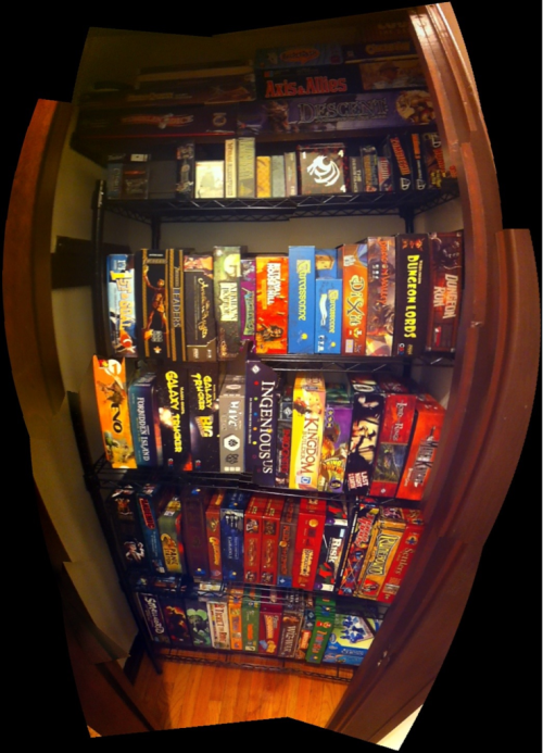 ad7m:  I'm about to run out of room in my board game closet. #geekproblems (Click the pic for fancypants panorama mode!)