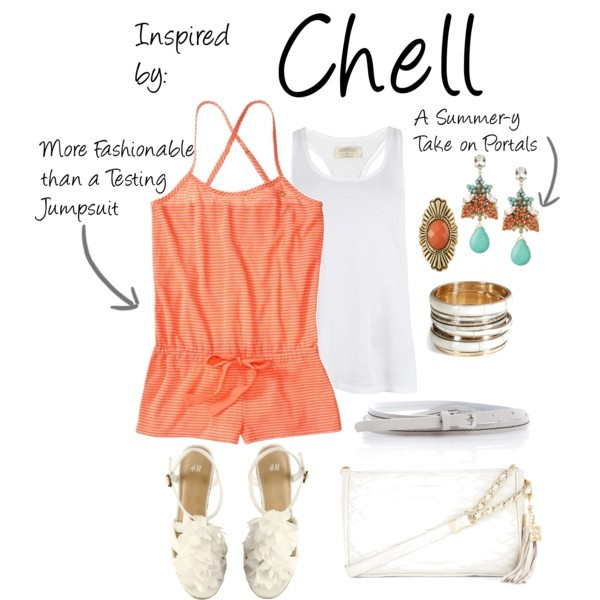 Chell (Portal Series) by ladysnip3r featuring BCBG Max Azria shoulder bags Finally get some cake with this Chell inspired outfit from the Portal series. (Reference Image)