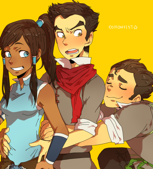 cottonfist:  Huggle train and Bolin wanted to join in, hehe.I love these guys too much dshkad I'm probably going to draw more of them later but I need to doodle some Tokka to get it out of my system.  omgomgomg freaking AMAZING. I love how indignant Mako looks! <3
