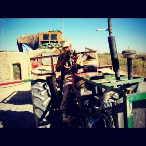 #deployment #afghanistan #corpsman #hm3 #m4 #tacticalvehicle #tractor (Taken with instagram)