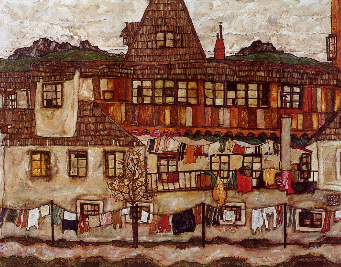 Houses with Clothes Hanging to Dry Egon Schiele