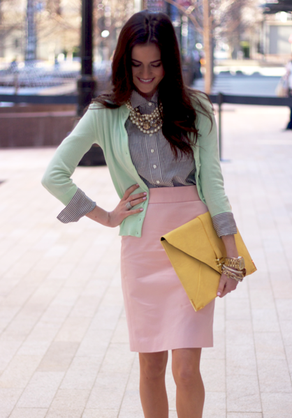 stylemewell:  colorful business professional.  This is a very interesting outfit. I approve, but make sure you're established in your line of work before you go experimenting with this.