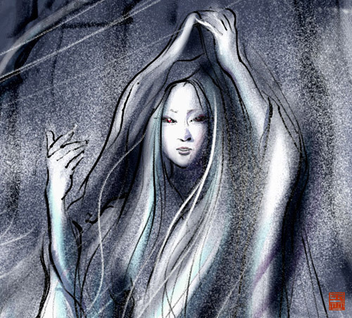 "hellyeahhorrormanga:  Yuki Onna (snow woman) is a spirit or yōkai in Japanese folklore. She appears on snowy nights as a tall, beautiful woman with long black hair and blue lips. Her inhumanly pale or even transparent skin makes her blend into the snowy landscape. She sometimes wears a white kimono, but other legends describe her as nude, with only her face and hair standing out against the snow.  Despite her inhuman beauty, her eyes can strike terror into mortals. She floats across the snow, leaving no footprints and she can transform into a cloud of mist or snow if threatened. In many stories, Yuki-onna appears to travelers trapped in snowstorms, and uses her icy breath to leave them as frost-coated corpses.  Other legends say she leads them astray so they simply die of exposure. Other times, she manifests holding a child. When a well-intentioned soul takes the ""child"" from her, they are frozen in place. Parents searching for lost children are particularly susceptible to this tactic.  Other legends make Yuki-onna much more aggressive. In these stories, she often invades homes, blowing in the door with a gust of wind to kill residents in their sleep (Some legends require her to be invited inside first.)"