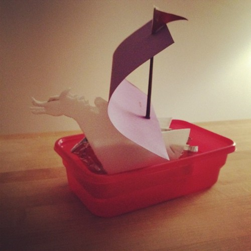 The Dawn Treader voyaging in her red-plastic ocean.  (Taken with instagram)