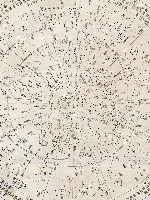 marthajefferson:  Japanese star map - Tenmon Bun'ya no zu, 1677detail view (map showing divisions of the heavens and regions they govern)