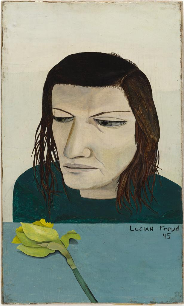 Woman With a Daffodil, 1945Lucian Freud   anniedonia answered your question: Question Time! You can pick any artist living or dead to paint your portrait. Who would it be?  freud