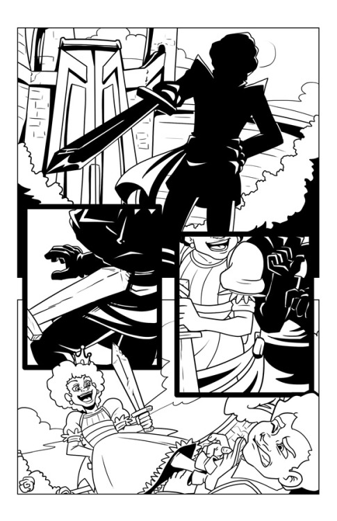 The Thing in the Dungeon - Page 1 Pencils Now that you've been introduced to all four of our artists for the short story collection, I wanted to share some of the fantastic art I'm seeing, because I can't allow myself to be the only one who sees this for the next several months.   So, since we've hit 275 followers, I'm going to start releasing new art from either Princeless Vol 2 or the Princeless Short Story Collection for every 25 followers we gain.  Deal?  Now go recruit! The first release is the inks from the first page you saw of this collection, drawn by Nancy King.  It's fantastic to see the page start to come together eh? So, hitting 300 will get you more work from Jules Rivera, which can only mean more Bedelia Smith!