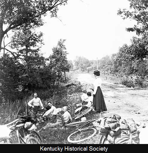 "afrormosia:  ""Group resting at side of road on bicycle trip,"" circa 1899, Mason County, Kentucky. (Kentucky Historical Society, MAS.1990ph2.13MAS140.)"