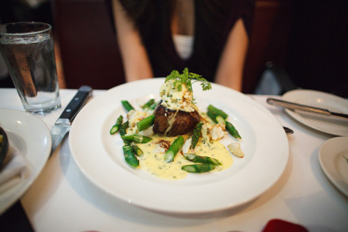 f-word:  filet oscar: filet mignon, steamed asparagus, lump crabmeat and bearnaise sauce photo by thenomnomfoodie
