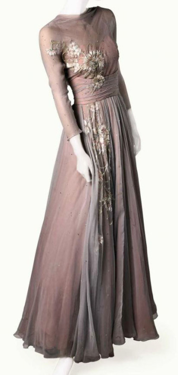 fleetingfancies:  Dreamy layered chiffon gown designed by Helen Rose for Grace Kelly in High Society, 1956.