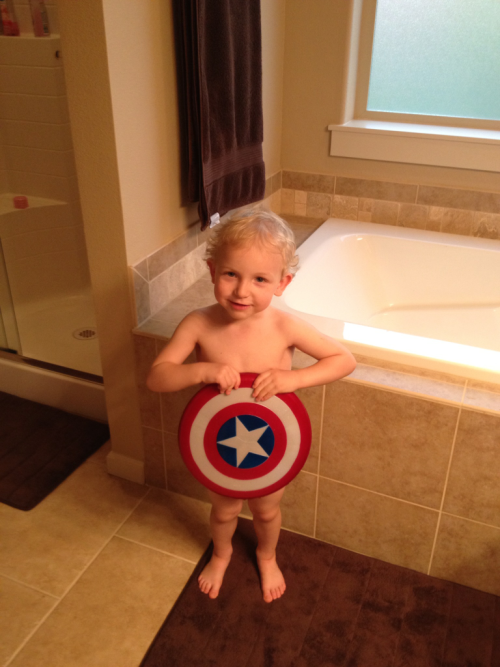 Captain America takes a bath