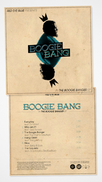 """this is the new e.p for artist BOOGIE BANG of famed international hip hop duo REDEYEBLUE, This six song ep called The Boogie Banger is a solid collection of music designed for the satisfaction of any ear keen on true hip hop aesthetics check it out give it a listen and buy a copy, support ya boy i hear he just got a stripper pregnant, i think he needs the money."" you can check it on itunes, cdbaby.com and many more …cover designby yours truly ""ste"""