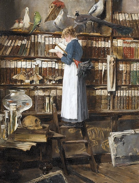 "(via TYWKIWDBI (""Tai-Wiki-Widbee""): ""Maid reading in a library"")  By Edouard John Mentha (late 19th - early 20th century)"