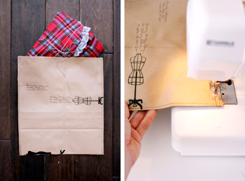 Old Paper Bag + Sewing Machine = Recycled Packaging via A Beautiful Mess