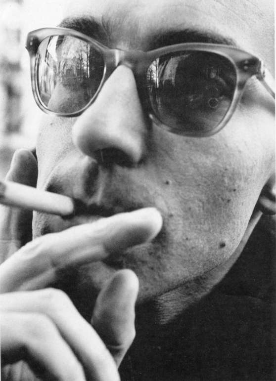 "entregulistanybostan:   Jean Luc Godard en 1960 por William Klein. kvetchlandia   William Klein     Jean-Luc Godard     1960 ""During our interview, Godard referred to the New Wave not only as 'liberating' but also as 'conservative.'  On the one hand, he and his friends saw themselves as a resistance movement against 'the occupation of the cinema by people who had no business there.'  On the other, this movement had been born in a museum, the Cinémathèque: Godard and his peers were steeping themselves in a cinematic tradition — that of silent films — that had disappeared almost everywhere else.  Thus, from the beginning, Godard saw the cinema as a lost paradise that had to be reclaimed."" —From and Interview with Jean-Luc Godard by Richard Brody, ""The New Yorker""  2000"