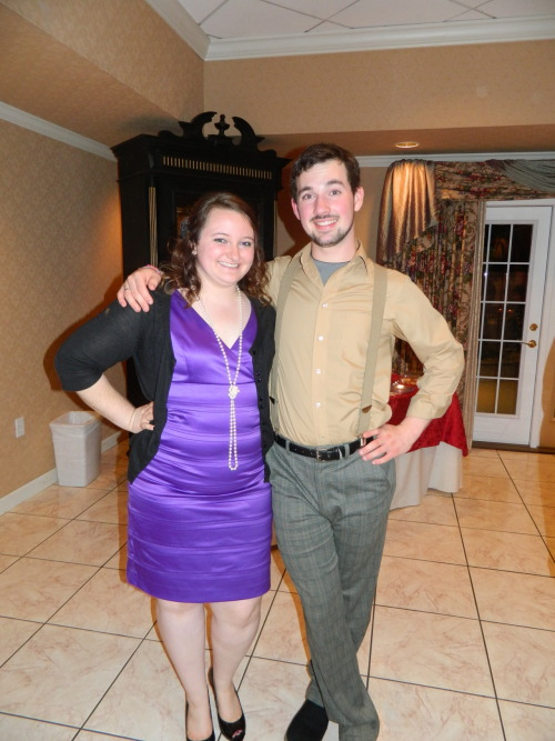 This is my fabulous date and I at my sorority's formal =] Death By Chocolate murder mystery!