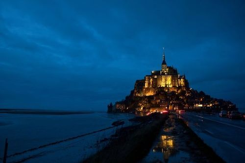 France, Le Mount Saint Michel at night
